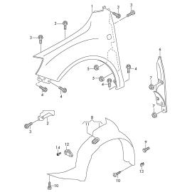 Подкрылок передний правый Skoda Roomster (2006-2015)