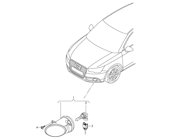 Фара противотуманная (ПТФ) правая Audi A1 8X (2010-2017)