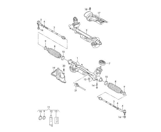 Рейка рулевая в сборе Audi A3 8V (2012-н.в.)