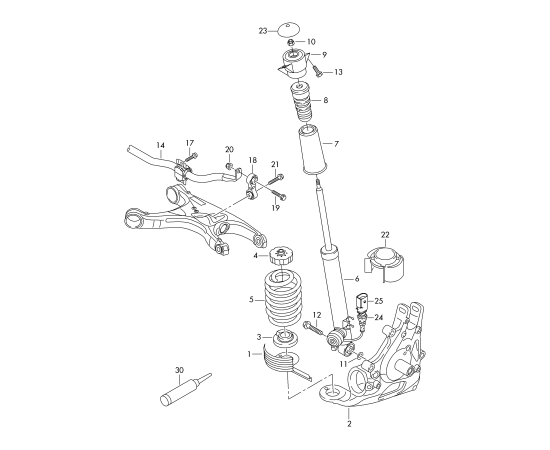 Амортизатор задний Audi A6 C7 (2011-н.в.)