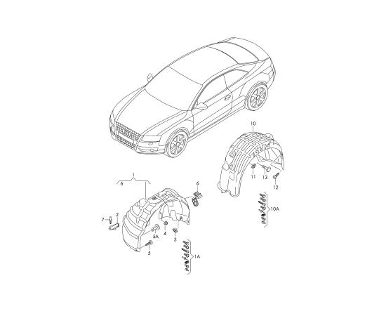 Подкрылок задний левый Audi A4 B8 (2007-2015)