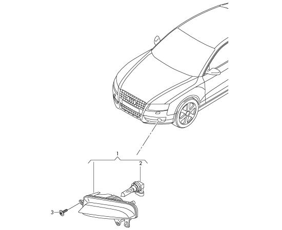Фара противотуманная (ПТФ) левая Audi A4 B8 (2007-2015)