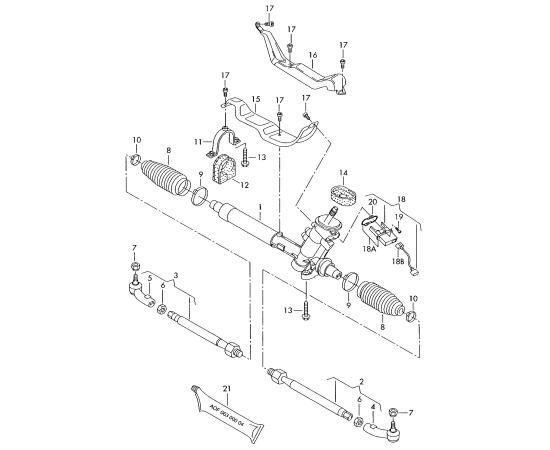 Рейка рулевая в сборе Skoda Fabia 2 (2010-2015)