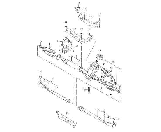 Тяга рулевая правая Skoda Roomster (2006-2015)