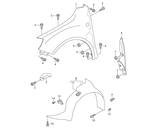 Подкрылок передний правый Skoda Fabia 2 (2010-2015)