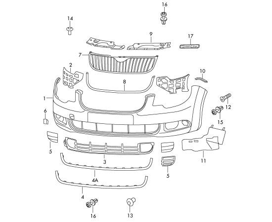 Окантовка решетки радиатора (хром) Skoda Superb 2 (2008-2015)